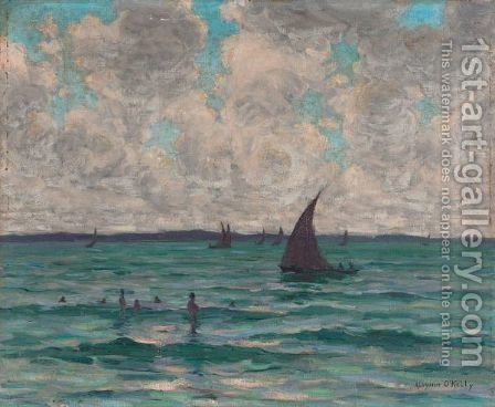 Swimmers And Sailboats by Aloysius O'kelly - Reproduction Oil Painting