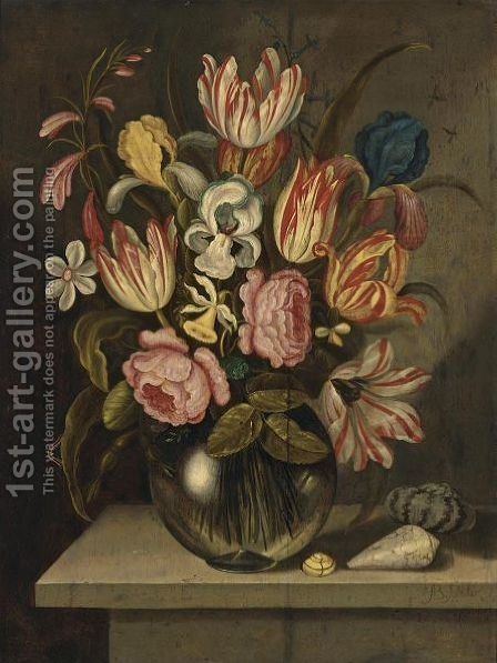 A Still Life Of Tulips, Roses, Irises And Daffodils In A Glass Vase With A Caterpillar And Three Exotic Shells On A Stone Ledge by Abraham Bosschaert - Reproduction Oil Painting