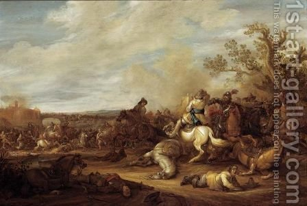 A Cavalry Battle Scene Before A Fortified Town by Abraham van der Hoef - Reproduction Oil Painting