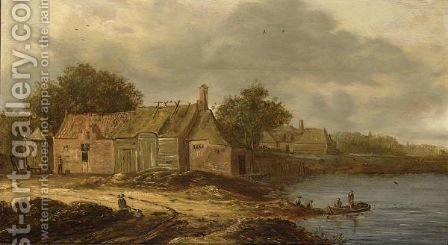 A Farm Along A River And Fishermen In A Boat, A Few Figures On The River Bank by (after)  Jan Van Goyen - Reproduction Oil Painting