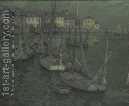 Les Barques De Peche by Henri Eugene Augustin Le Sidaner - Reproduction Oil Painting