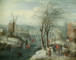 A Winter Landscape With Skaters On A Frozen River, A Village And Windmill Beyond