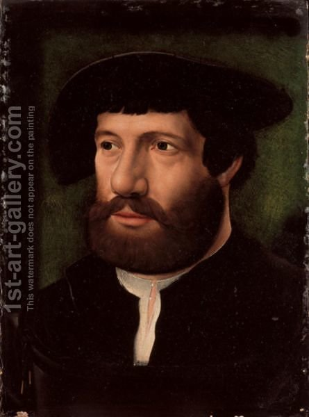 Portrait Of A Gentleman, Bust Length, Wearing A Black Jacket Over A White Shirt, With A Black Cap by (after) Cleve, Joos van - Reproduction Oil Painting