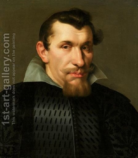 Portrait Of A Gentleman, Bust Length, Wearing A Black Jacket And White Ruff by (after) Diego Rodriguez De Silva Y Velazquez - Reproduction Oil Painting