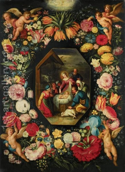 The Adoration Of The Shepherds, Surrounded By A Garland Of Flowers Held Aloft By Putti by (after) Jan, The Younger Brueghel - Reproduction Oil Painting