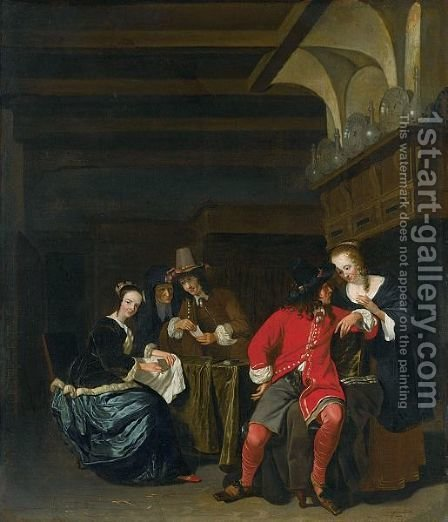 An Interior Scene With Card Players by (after) Ludolf De Jongh - Reproduction Oil Painting
