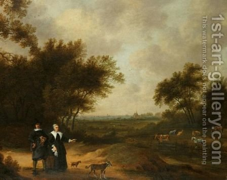 A Double Portrait Of A Couple Promenading With Their Dogs Through Their Country Estate by (after) Herman Doncker - Reproduction Oil Painting