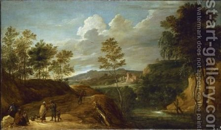 A Hilly Landscape With Gypsies And A Fortune Teller On A Rocky Road by (after)  David The Younger Teniers - Reproduction Oil Painting
