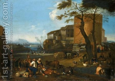 Italianate Landscape With Peasants Eating And Drinking With Their Animals Near A Fortified Village by (after) Michaelanglo Cerquozzi - Reproduction Oil Painting