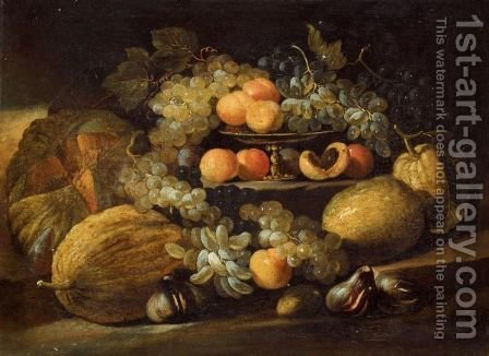 A Still Life Of Melons, Grapes, Figs And Apricots Arranged Over Some Stone Steps by (after) Abraham Brueghel - Reproduction Oil Painting