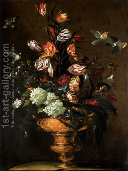 Still Life With Tulips, Morning Glory, Roses, And Various Other Flowers In A Bronze Urn by (after) Dei Fiori (Nuzzi) Mari - Reproduction Oil Painting