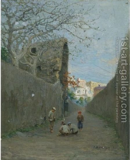 Ruelle A Torre Del Greco, Naples, 1892-1893 by Ivan Pavlovich Pokhitonov - Reproduction Oil Painting
