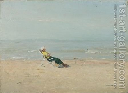 Marie-Louise On The Beach, 1920 by Ivan Pavlovich Pokhitonov - Reproduction Oil Painting
