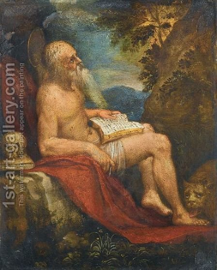 Saint Jerome In The Wilderness by (after) Lorenzo Lotto - Reproduction Oil Painting