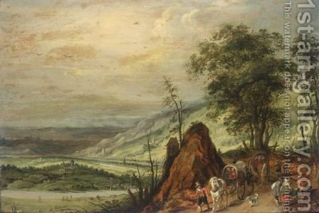 An Extensive Landscape With Waggoners In The Foreground by (after) Joos De Momper - Reproduction Oil Painting