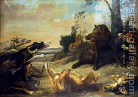 A Wild Boar Attacked By Hounds by (after) Paul De Vos - Reproduction Oil Painting