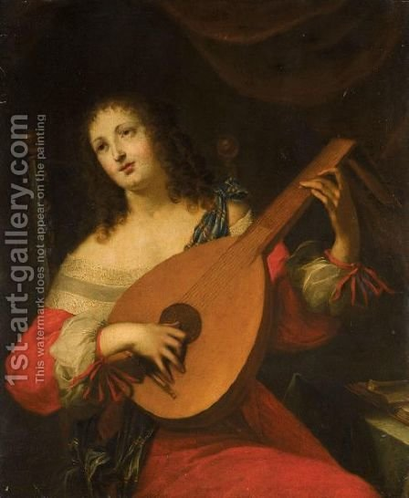 Portrait Of A Lady, Half Length, Playing A Lute by Hieronymus Janssens - Reproduction Oil Painting