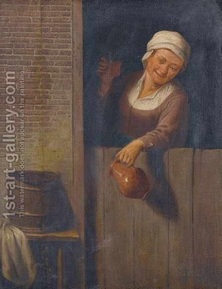 An Old Lady At A Window Holding A Pitcher And A Glass Of Ale by (after) Adriaen Jansz. Van Ostade - Reproduction Oil Painting