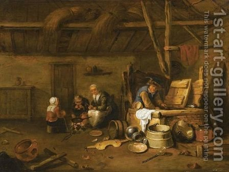 A Barn Interior With A Man At A Well And A Mother And Children Cooking Around A Fire by (after) David Ryckaert III - Reproduction Oil Painting