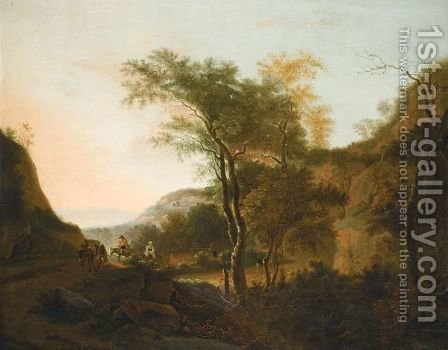 An Italianate Landscape With Drovers And Their Donkeys by (after) Jan Both - Reproduction Oil Painting