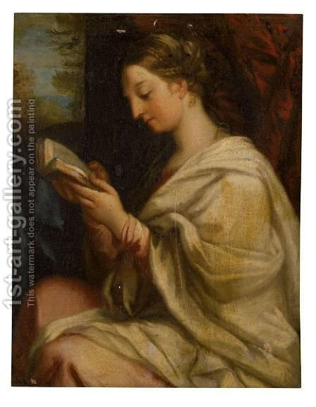 Portrait Of A Lady, Half Length, Reading A Book by (after) Carlo Maratta Or Maratti - Reproduction Oil Painting