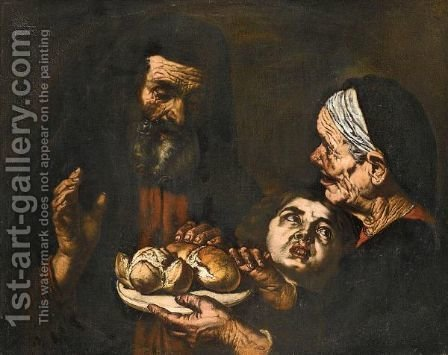 A Saint Blessing A Plate Of Bread, Together With An Elderly Lady And A Young Child by (after) Jusepe De Ribera - Reproduction Oil Painting