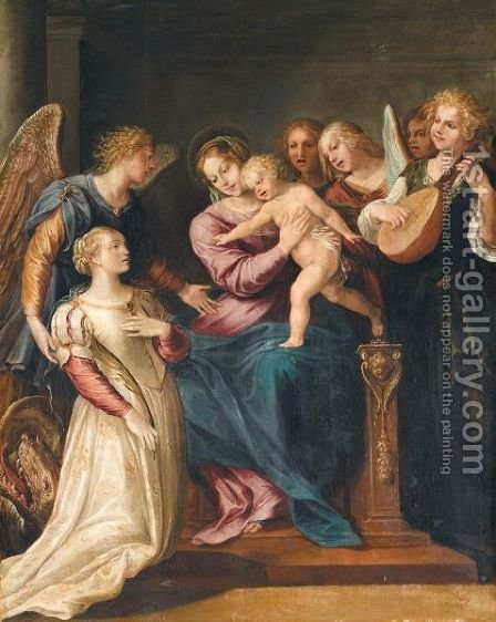 The Holy Family With Saint Margaret And Angels by (after) Giuseppe (d'Arpino) Cesari (Cavaliere) - Reproduction Oil Painting