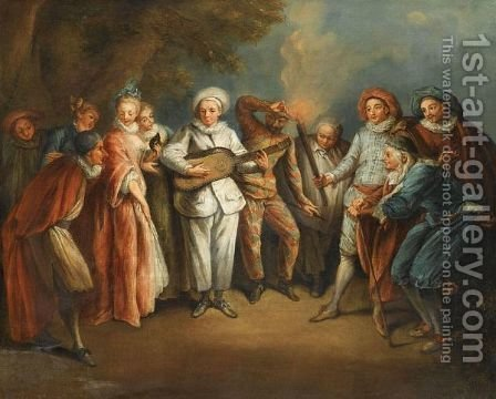 Actors Of The Italian Commedia Dell'Arte by (after) Watteau, Jean Antoine - Reproduction Oil Painting