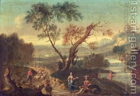 Italianate Landsape With Drovers And Their Animals On A Road Beside A River, A Hilltop Castle Beyond by (after) Francesco Zuccarelli - Reproduction Oil Painting