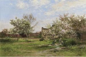 Reproduction oil paintings - Albert Gabriel Rigolot - Laundresses In Spring