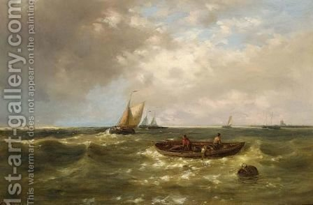 Fishermen Hauling In Their Nets On Choppy Seas by Abraham Hulk Jun. - Reproduction Oil Painting