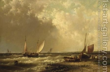 Shipping Off The Coast by Abraham Hulk Jun. - Reproduction Oil Painting