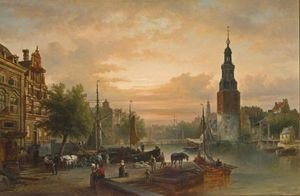 Reproduction oil paintings - Elias Pieter van Bommel - A View Of The Oude Schans With The Montelbaanstoren, Amsterdam