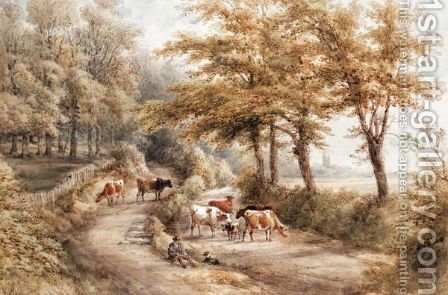 Landscape With Cattle And A Cathedral In The Distance by Henry Earp - Reproduction Oil Painting