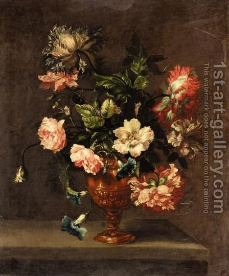 Still Life Of Roses, Paeonies, And Other Flowers In A Vase On A Ledge by (after) Emily Stannard - Reproduction Oil Painting