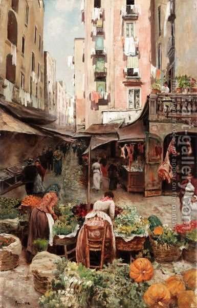 Market Scene by (after) Attilio Pratella - Reproduction Oil Painting