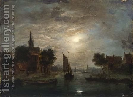A Moonlit Riverlandscape by (after) Jacobus Theodorus Abels - Reproduction Oil Painting