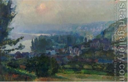 Vue De Vetheuil (Soleil Couchant) by Albert Lebourg - Reproduction Oil Painting