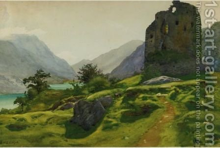 Landscape With Ruin And Mountain Lake by Albert Nikolaevich Benois - Reproduction Oil Painting