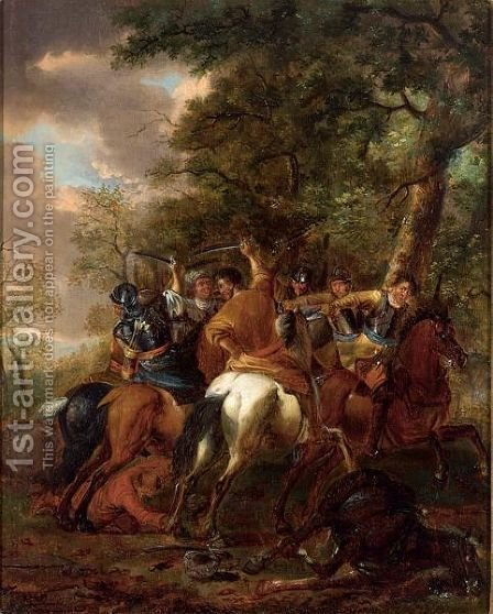 A Cavalry Battle Scene Between Turks And Christians by (after) Abraham Van Calraet - Reproduction Oil Painting