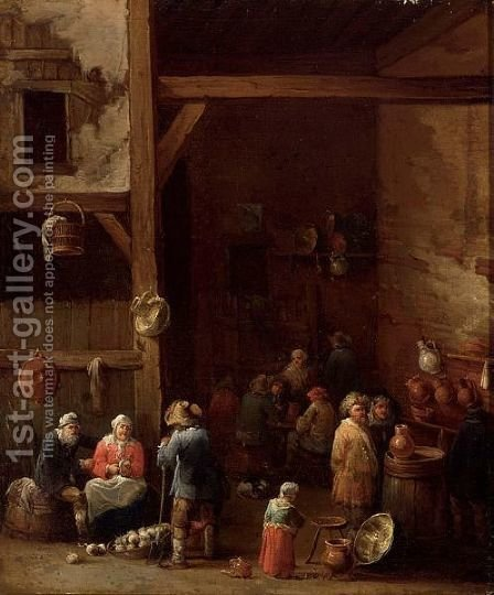 An Interior Of An Inn With A Woman Cleaning Turnips, A Little Girl Standing Near An Earthenware Pot by (after)  David The Younger Teniers - Reproduction Oil Painting