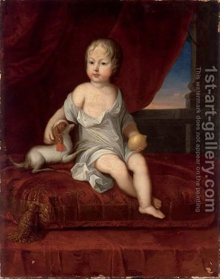 A Portrait Of A Young Boy, Seated Full-Length On A Red Pillow, Holding A Lemon In His Hand, Together With A Dog by (after) Johann Heinrich The Elder Tischbein - Reproduction Oil Painting
