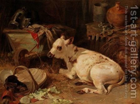 The Little Calf by Henry Weekes - Reproduction Oil Painting