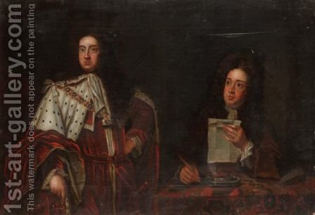 Portrait Of King George I With His Secretary by (after) Kneller, Sir Godfrey - Reproduction Oil Painting