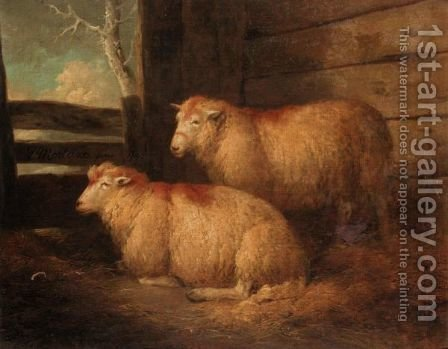 Two Sheep In A Stable by (after) George Morland - Reproduction Oil Painting