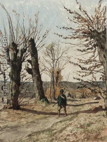 La Chasse by Henri-Joseph Harpignies - Reproduction Oil Painting