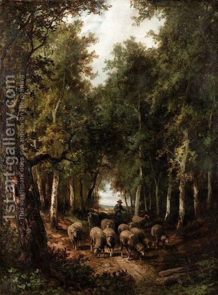 Driving The Sheep Through The Woods by A. Manzoni - Reproduction Oil Painting