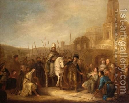 The Triumph Of The Mordechai by (after) Jakob Willemsz. De Wet - Reproduction Oil Painting
