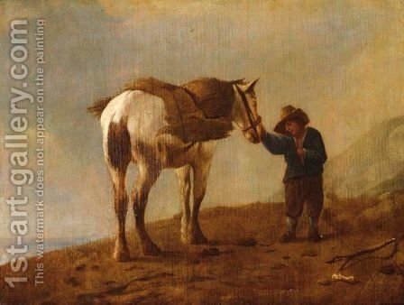A Traveller With His Horse In A Landscape by (after) Philips Wouwerman - Reproduction Oil Painting