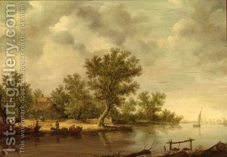 A River Landscape With Fishermen In A Boat by (after)  Jan Van Goyen - Reproduction Oil Painting